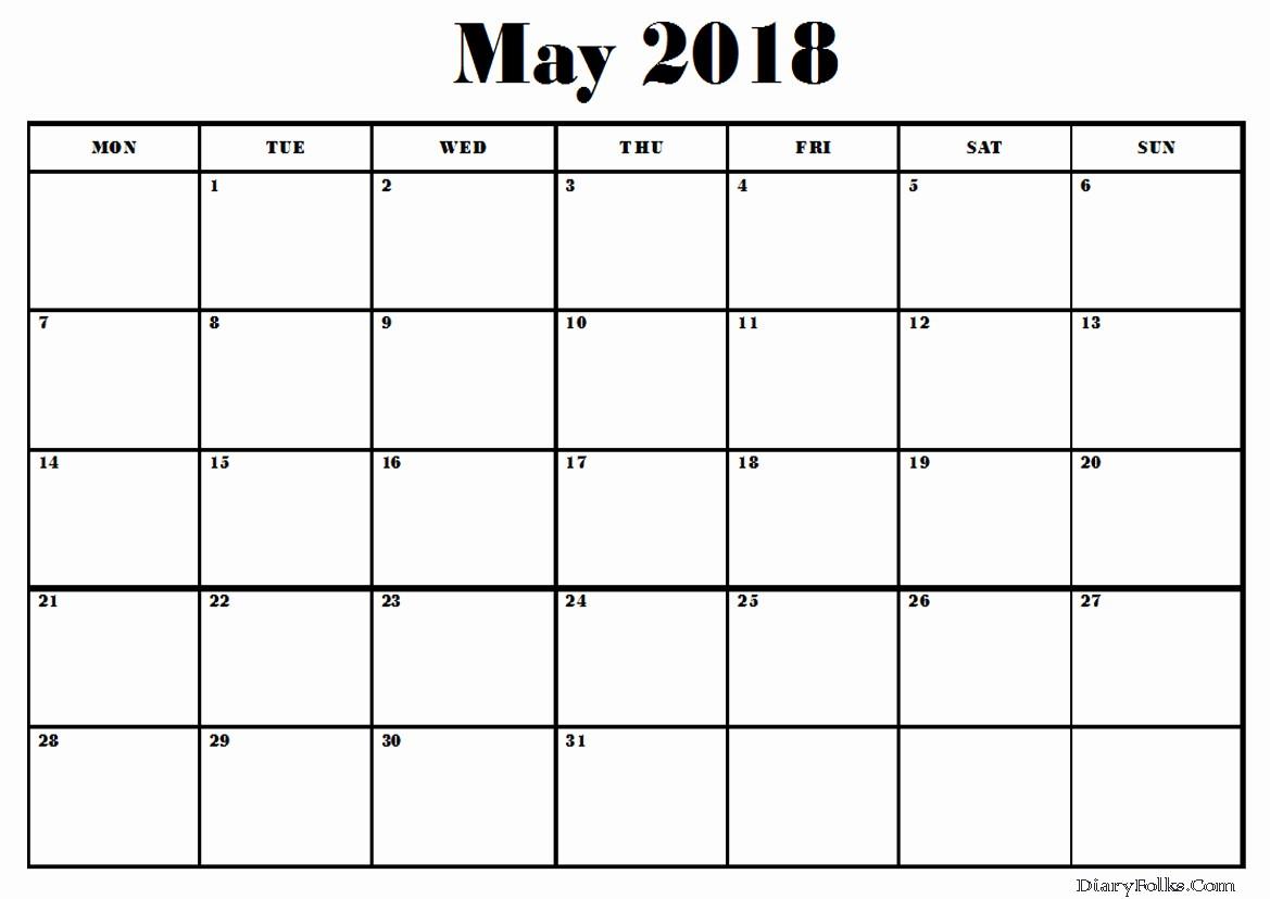 Blank May 2018 Calendar Printable Elegant May 2018 Blank Calendar Printable