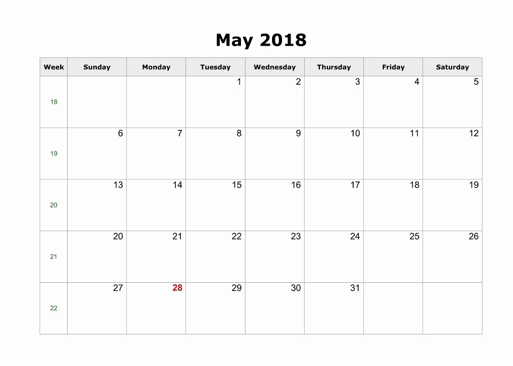 Blank May 2018 Calendar Printable Fresh Blank Calendar for May 2018 Word Jpg and Pdf File