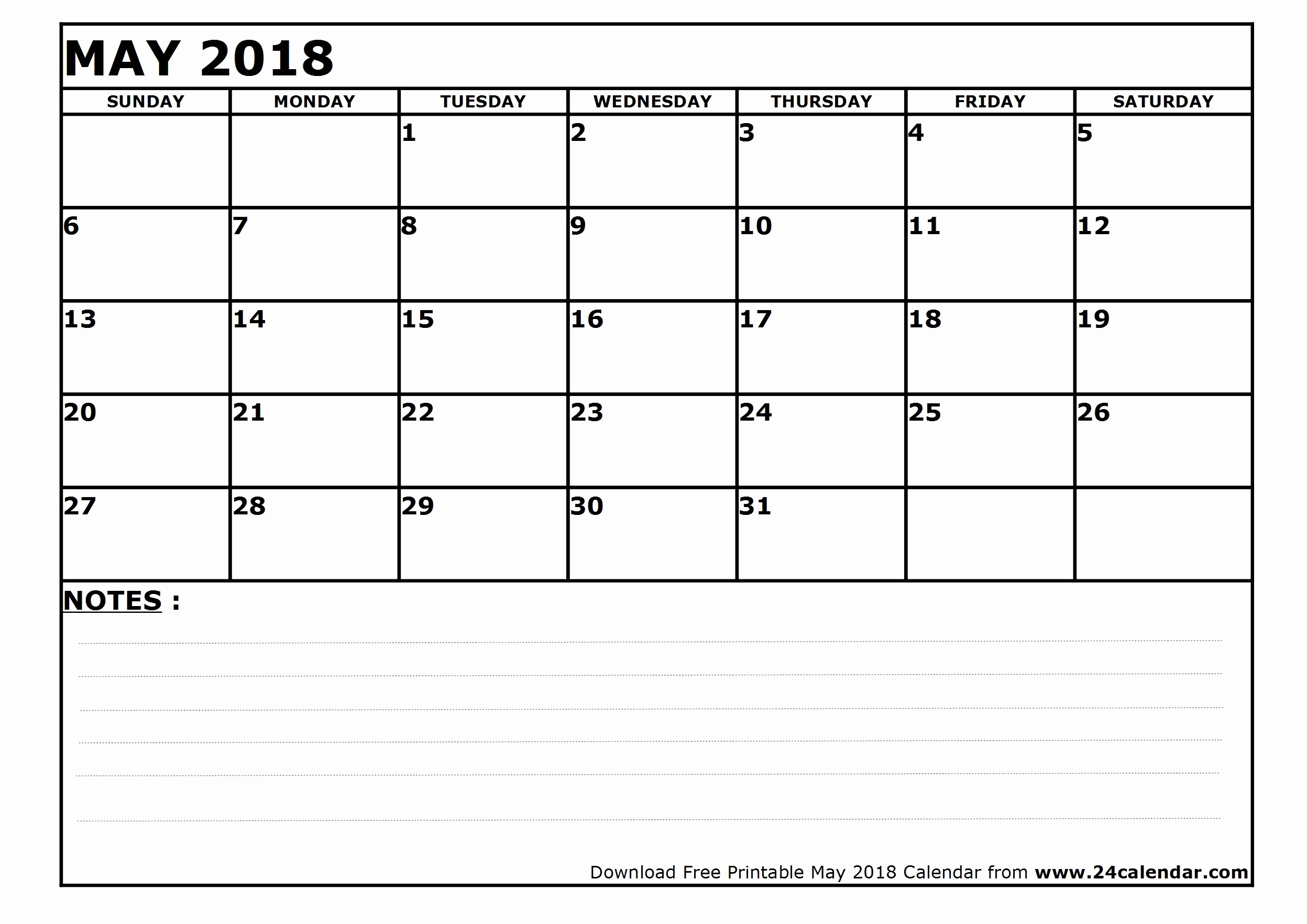 Blank May 2018 Calendar Printable Fresh Blank May 2018 Calendar In Printable format