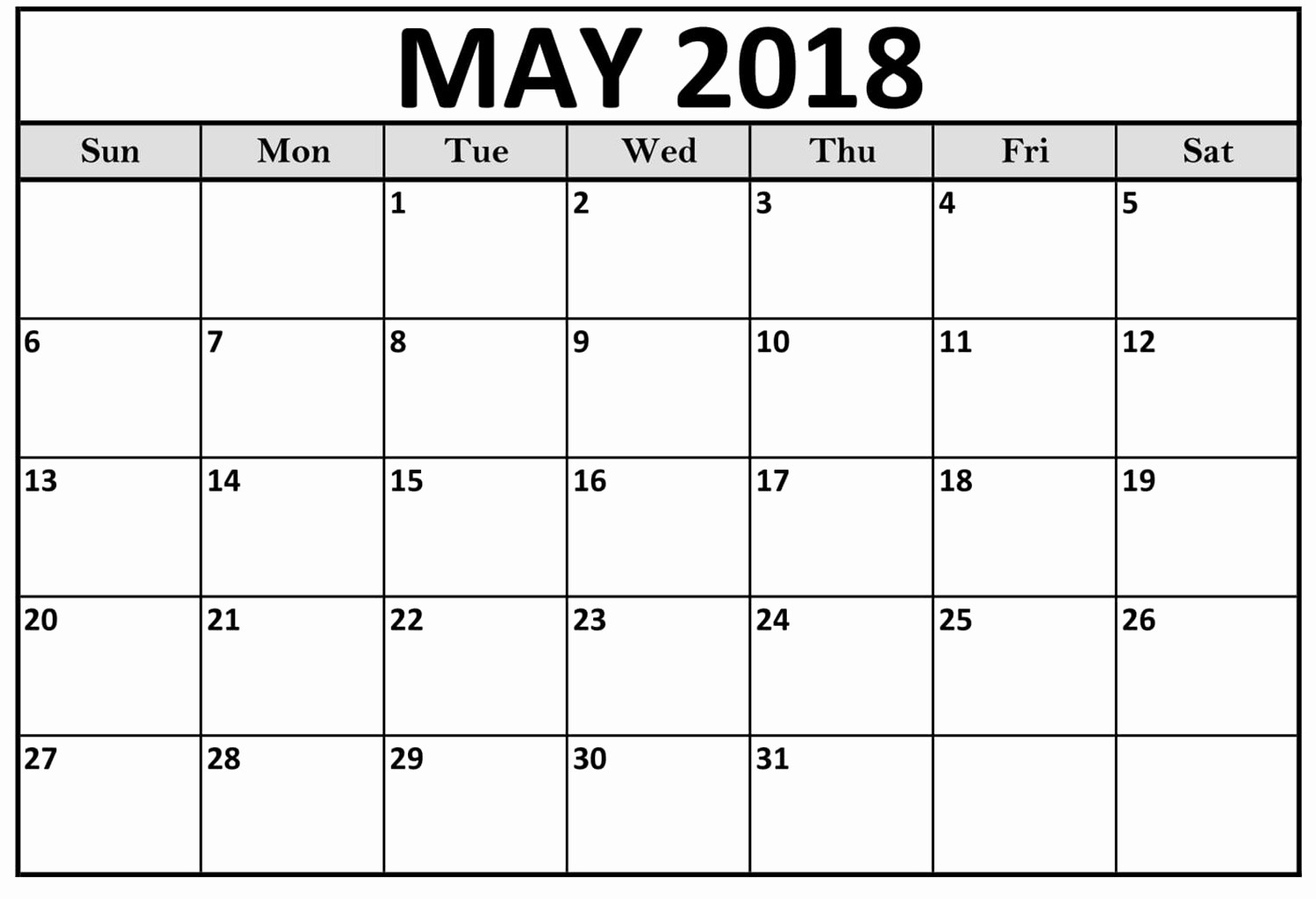 Blank May 2018 Calendar Printable Fresh May 2018 Blank Templates Calendar
