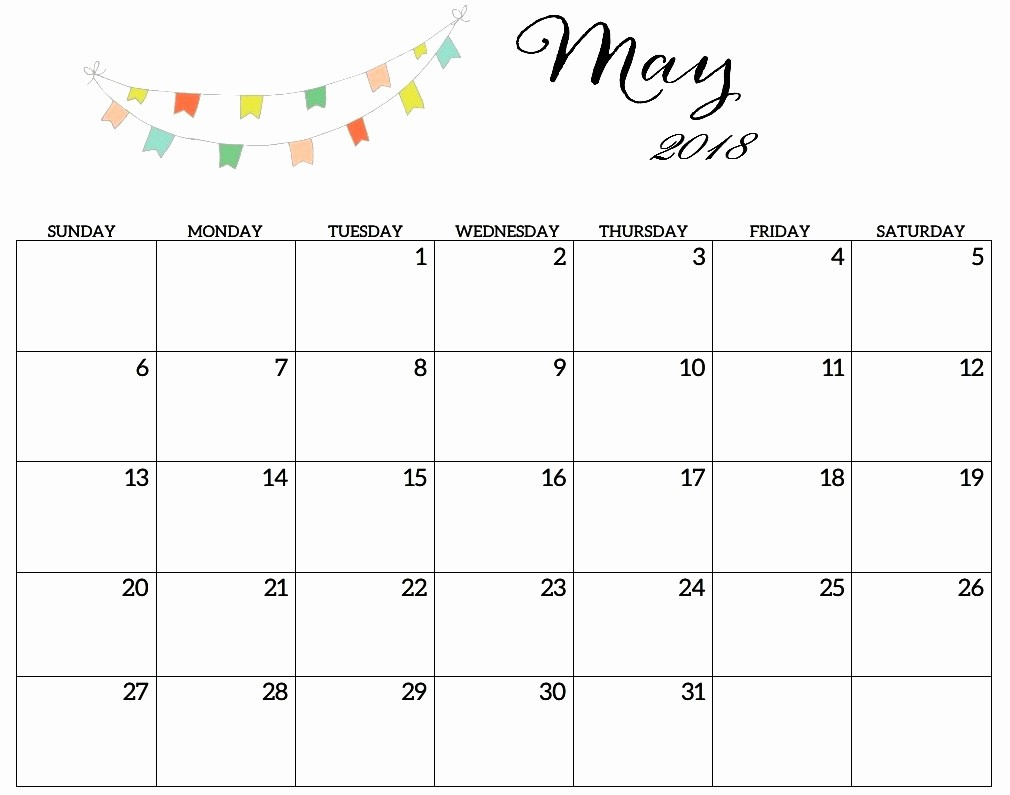 Blank May 2018 Calendar Printable Lovely Blank May 2018 Calendar Printable