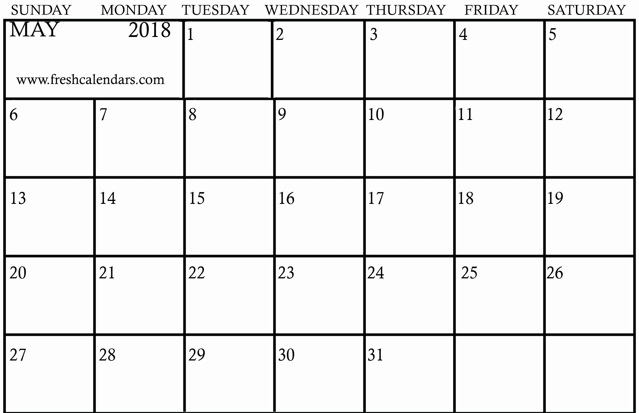 Blank May 2018 Calendar Printable Lovely Blank May 2018 Calendar Printable Templates