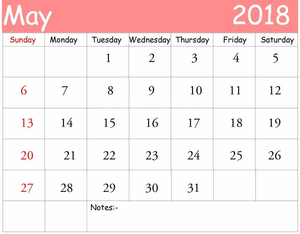Blank May 2018 Calendar Printable Lovely Free May 2018 Calendar In Printable format Templates