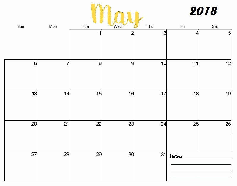 Blank May 2018 Calendar Printable Lovely Free Printable Blank Monthly Calendar 2018