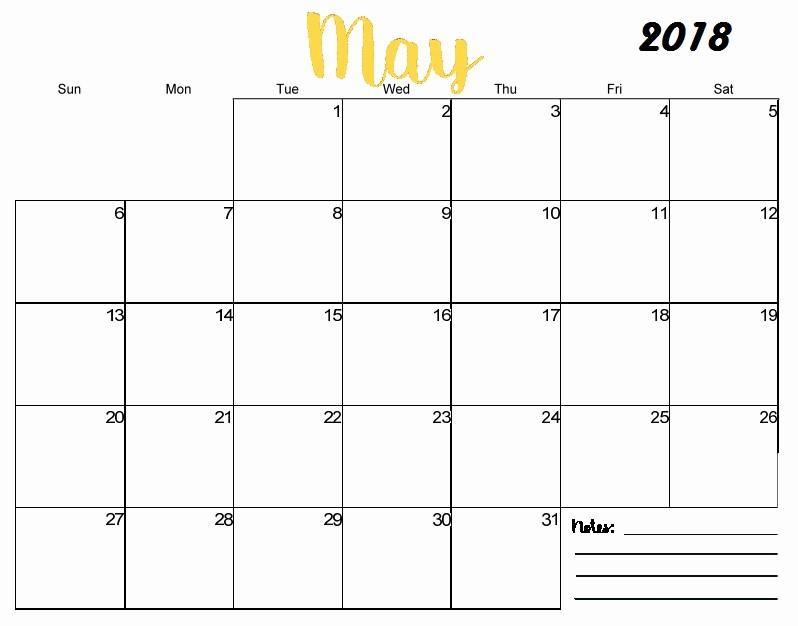 Blank May 2018 Calendar Printable Lovely Free Printable Blank Monthly Calendar 2018