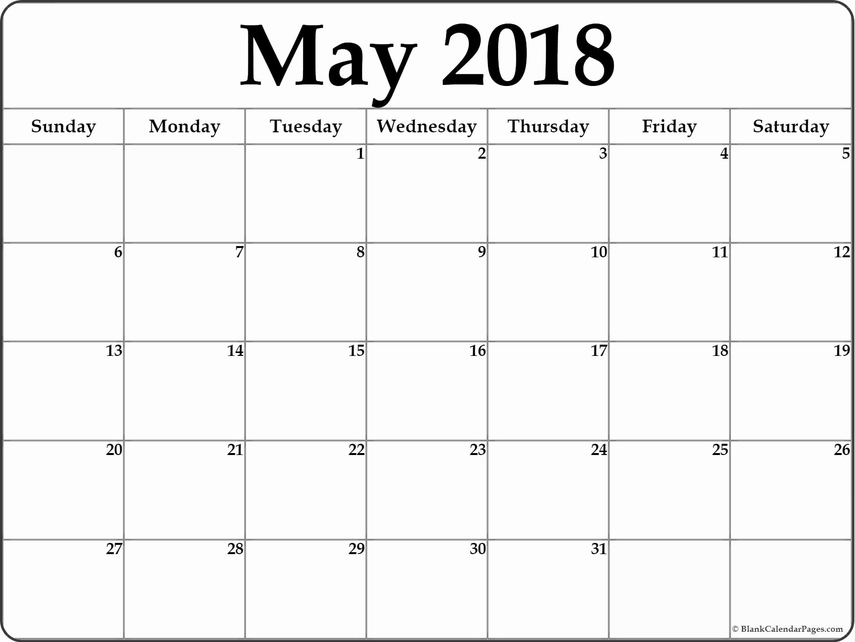 Blank May 2018 Calendar Printable Lovely May 2018 Blank Calendar Collection