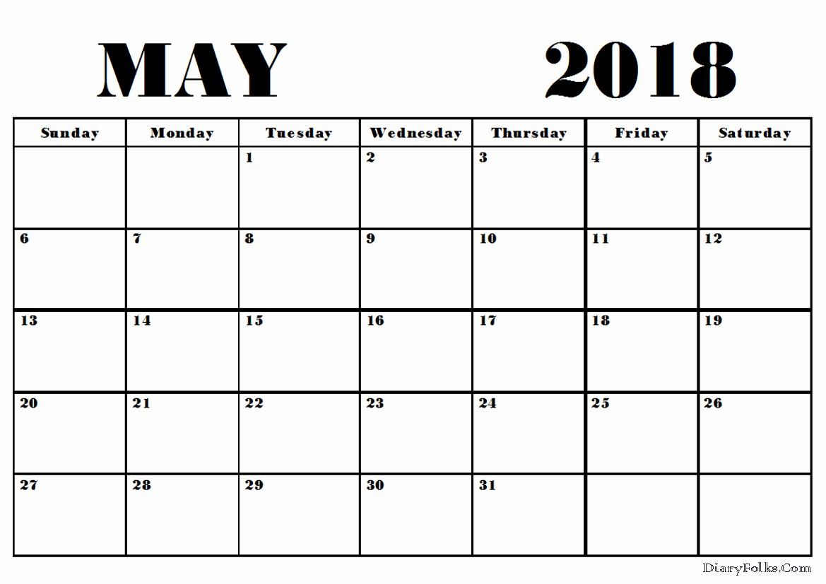 Blank May 2018 Calendar Printable Lovely May 2018 Blank Calendar Printable