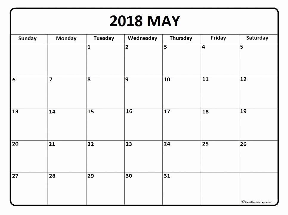 Blank May 2018 Calendar Printable Lovely May 2018 Calendar