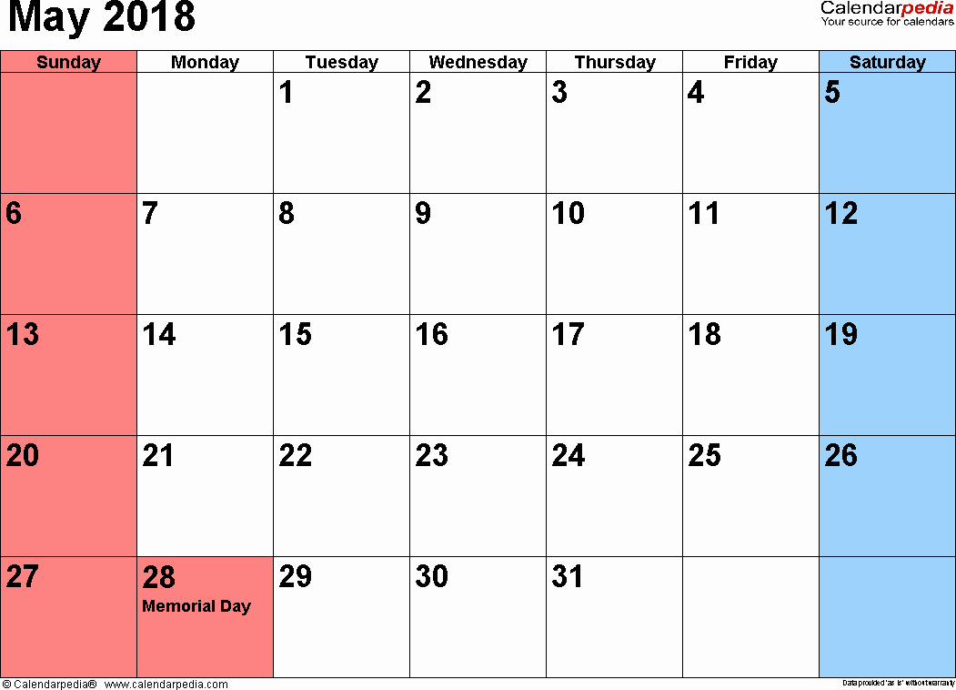 Blank May 2018 Calendar Printable Lovely May 2018 Calendars for Word Excel & Pdf
