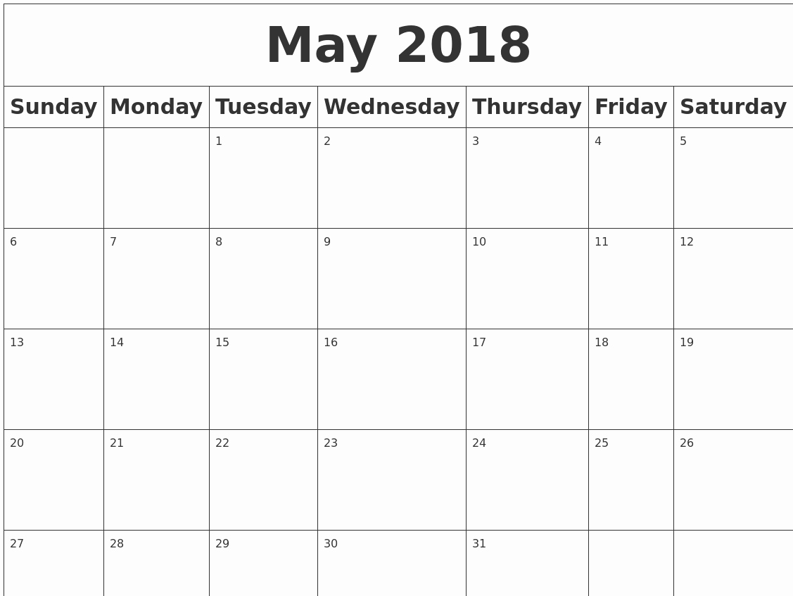 Blank May 2018 Calendar Printable Luxury May 2018 Blank Calendar