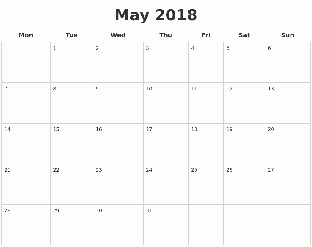 Blank May 2018 Calendar Printable Luxury May 2018 Blank Calendar Pages