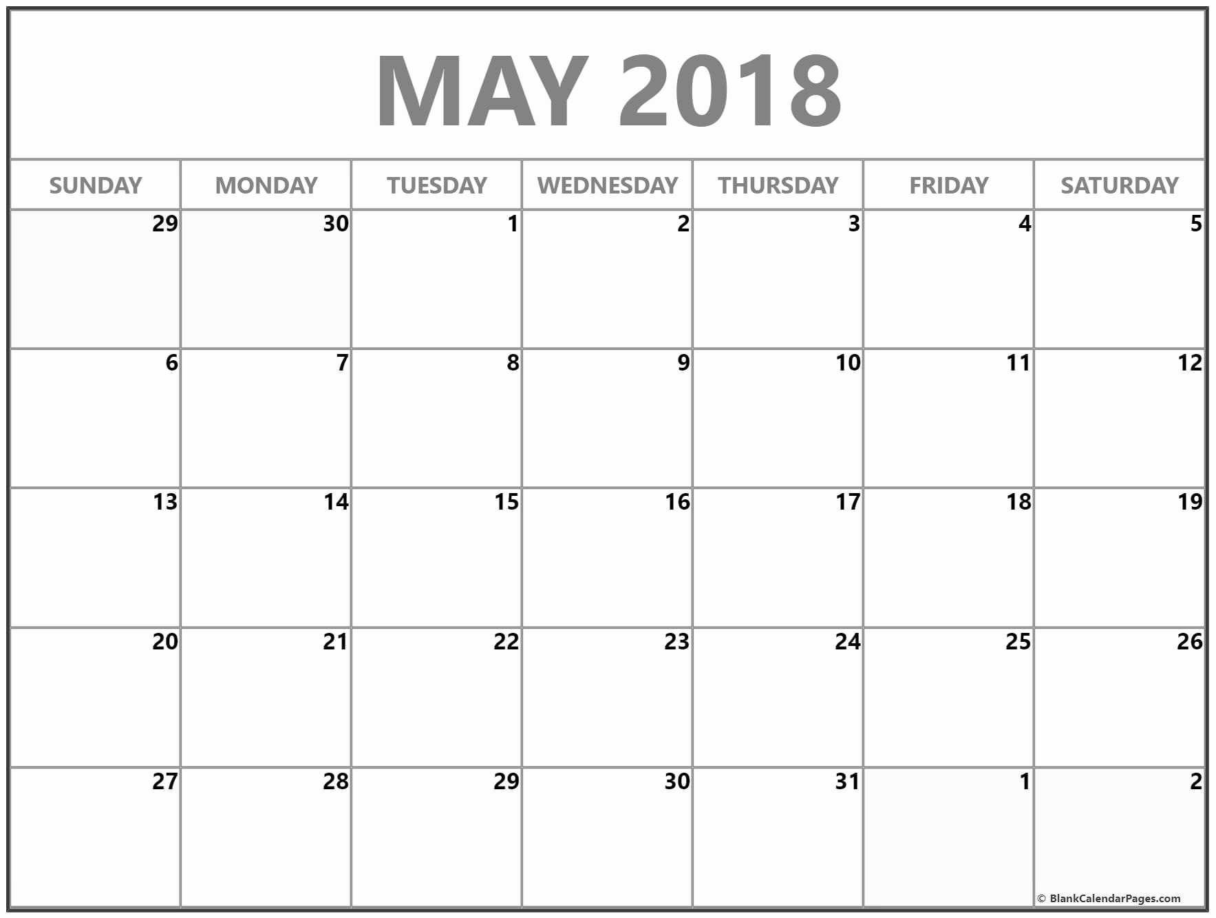Blank May 2018 Calendar Printable Luxury May 2018 Free Printable Blank Calendar Collection