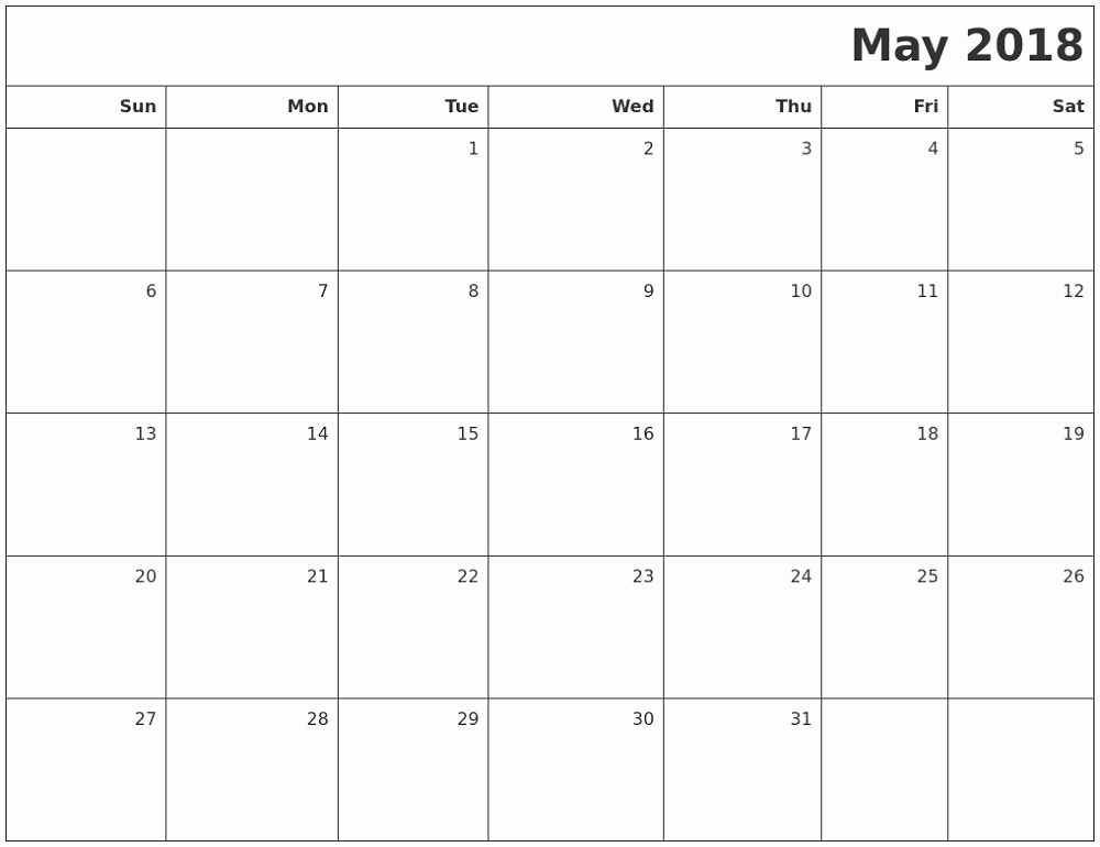 Blank May 2018 Calendar Printable New Blank Printable Calendar 2018 May – Printable Shelter