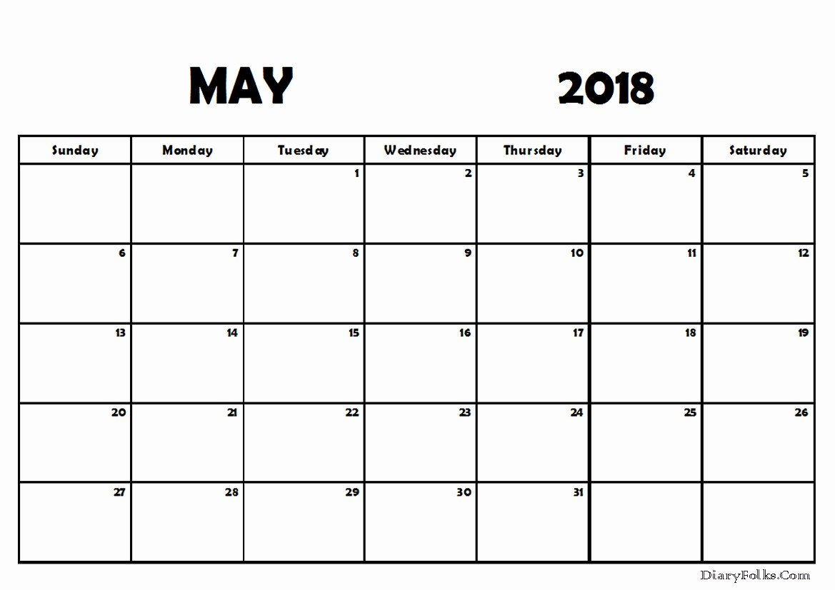 Blank May 2018 Calendar Printable New May 2018 Blank Calendar Printable