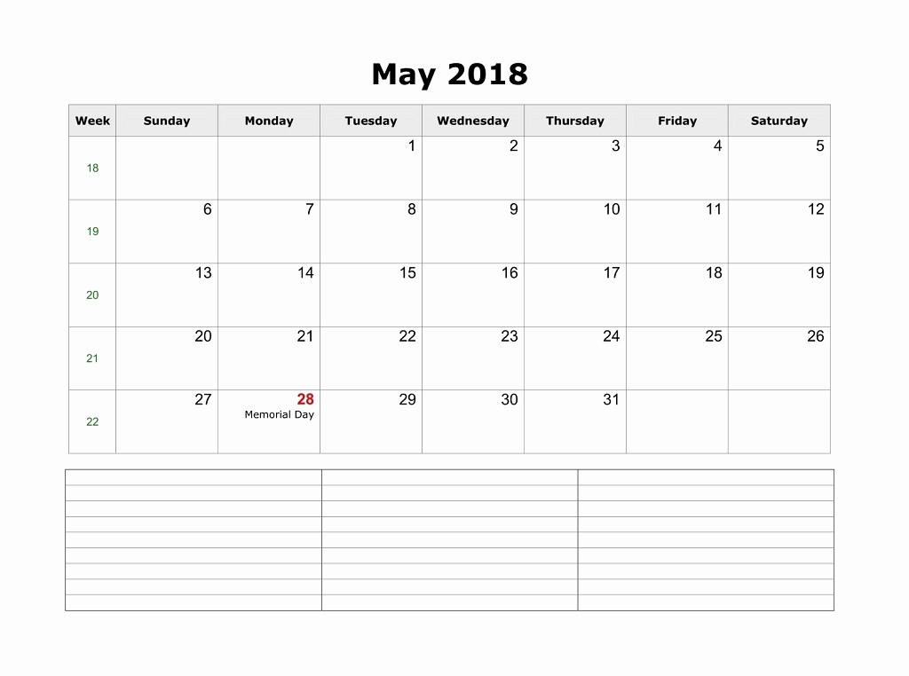 Blank May 2018 Calendar Printable Unique Blank Calendar for May 2018 Word Jpg and Pdf File