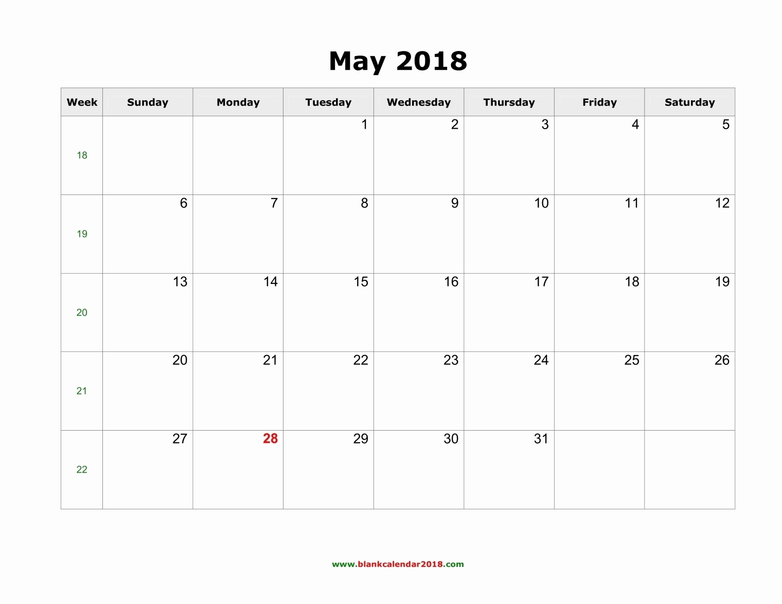 Blank May 2018 Calendar Printable Unique Blank Calendar May 2018 Landscape