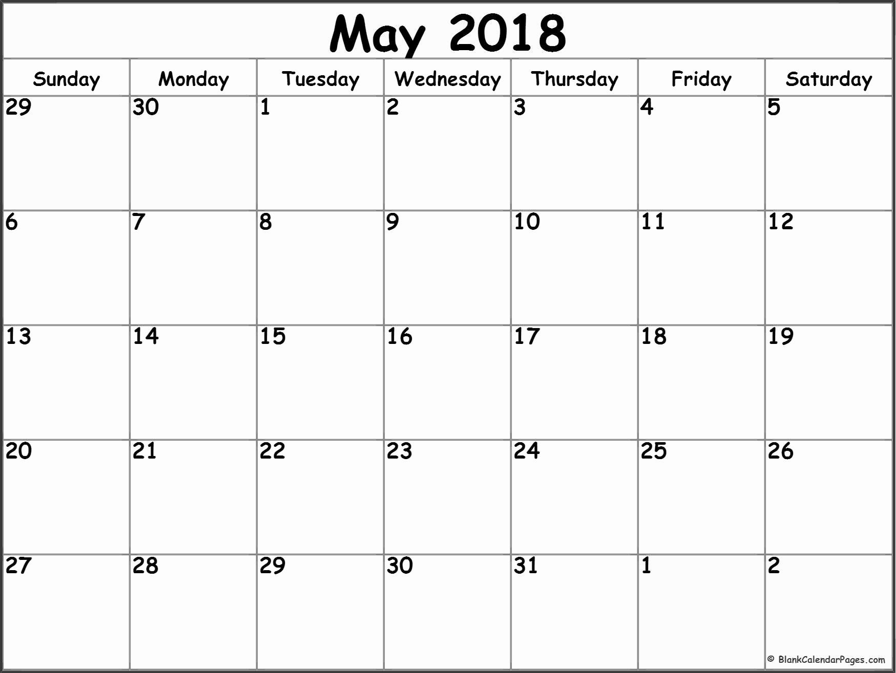 Blank May 2018 Calendar Printable Unique May 2018 Blank Calendar Collection