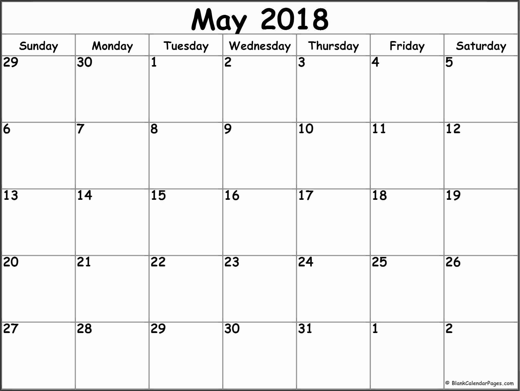 Blank May 2018 Calendar Printable Unique May 2018 Blank Calendar Collection