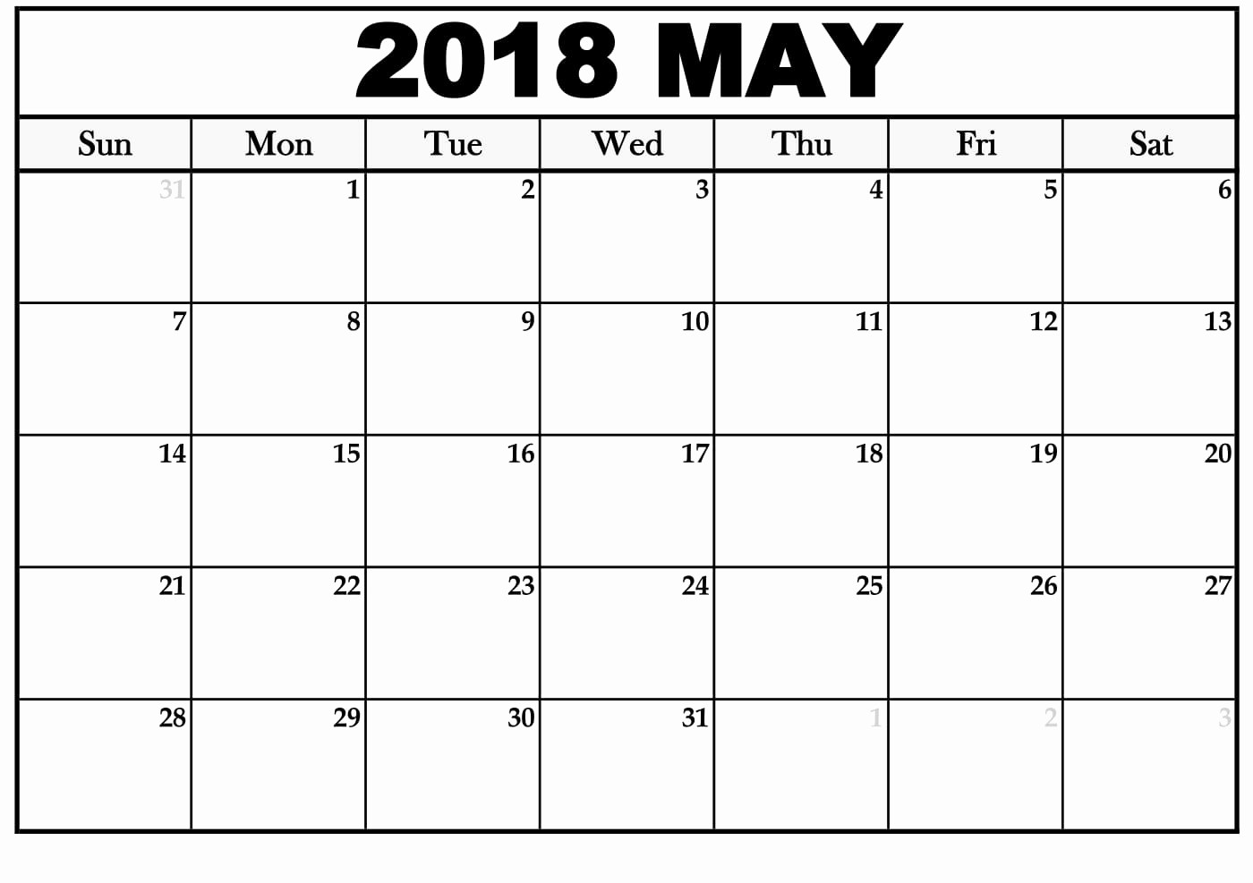 Blank May 2018 Calendar Printable Unique May 2018 Blank Calendar
