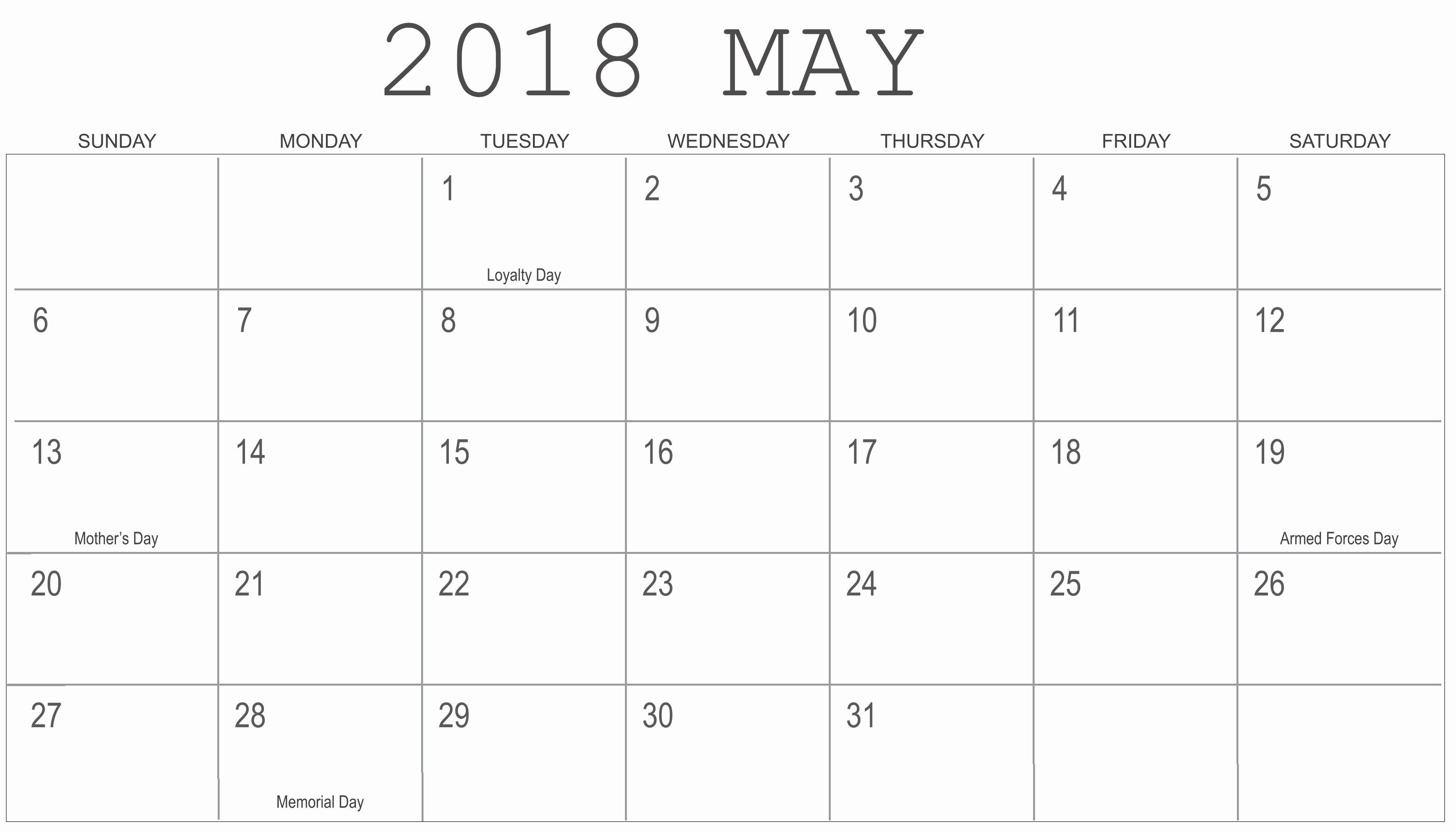 Blank May 2018 Calendar Printable Unique May 2018 Blank Templates
