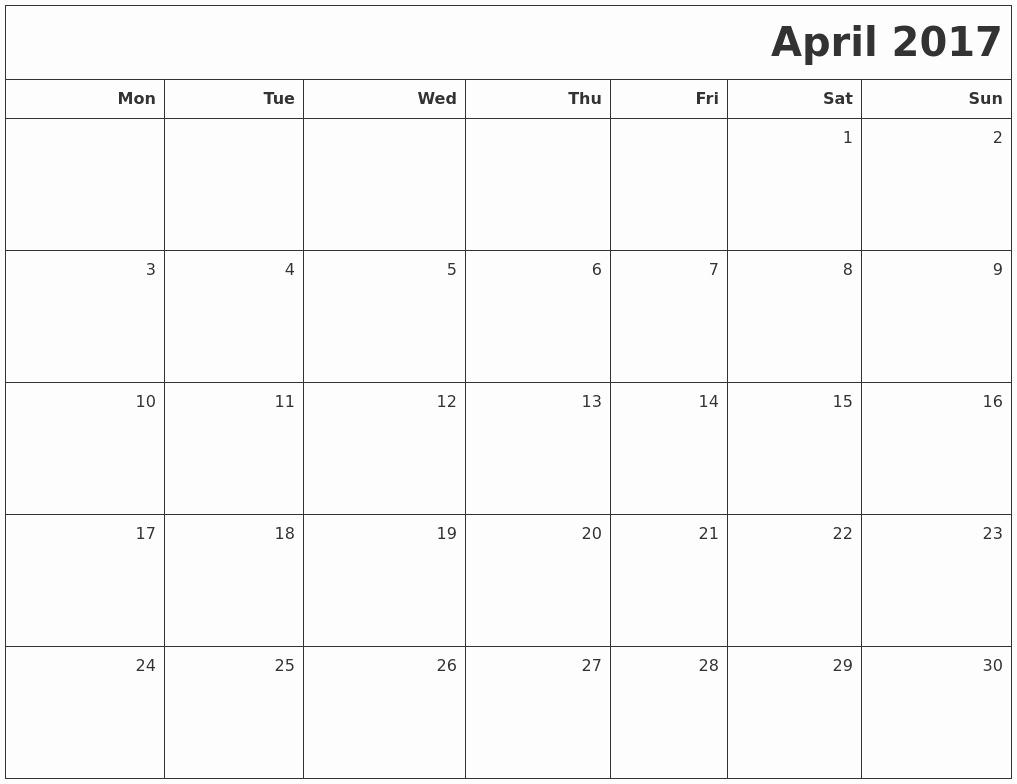 Blank May Calendar 2017 Printable Awesome April 2017 Printable Blank Calendar
