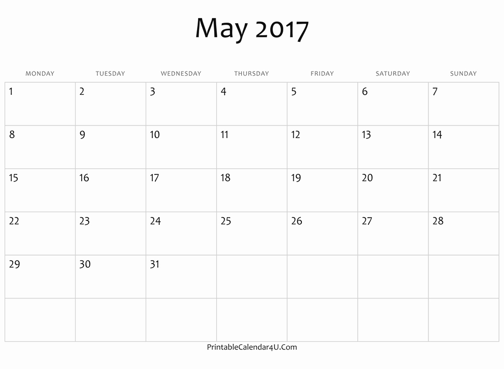 Blank May Calendar 2017 Printable Awesome Blank May Calendar 2017 Ms Word Free Printable 2017 Calendar