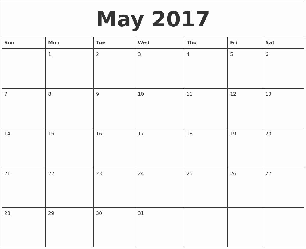 Blank May Calendar 2017 Printable Awesome May 2017 Calendar Word