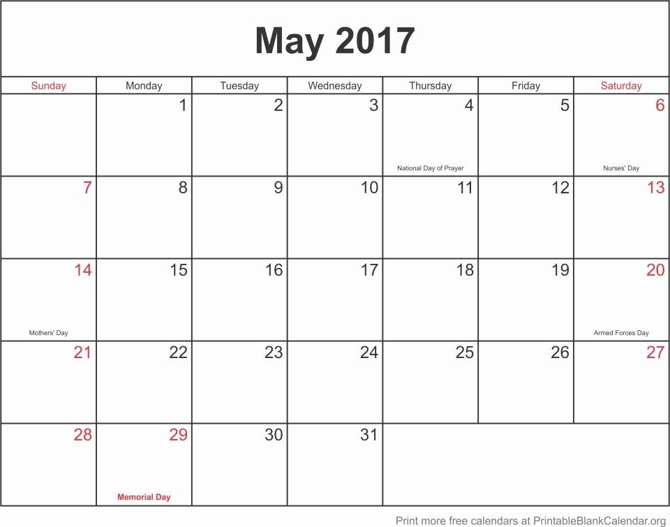 Blank May Calendar 2017 Printable Awesome May 2017 Printable Blank Calendar Templates Printable