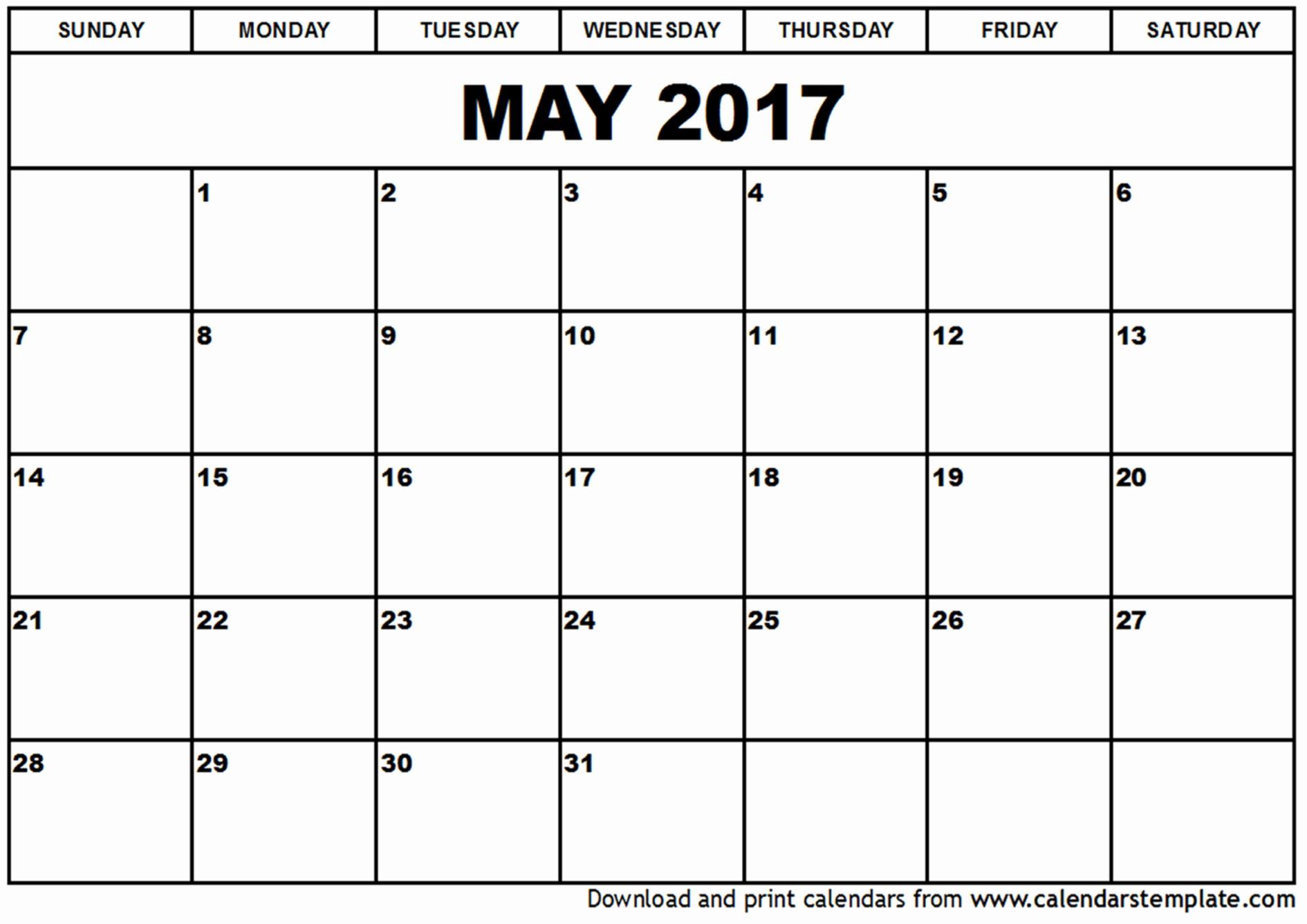 Blank May Calendar 2017 Printable Beautiful May 2017 Calendar Template