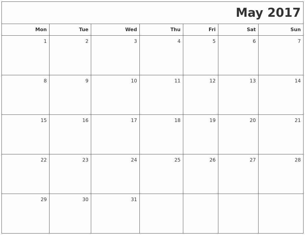 Blank May Calendar 2017 Printable Beautiful May 2017 Printable Blank Calendar
