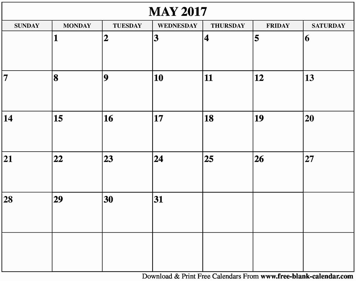 Blank May Calendar 2017 Printable Elegant Blank May 2017 Calendar Printable