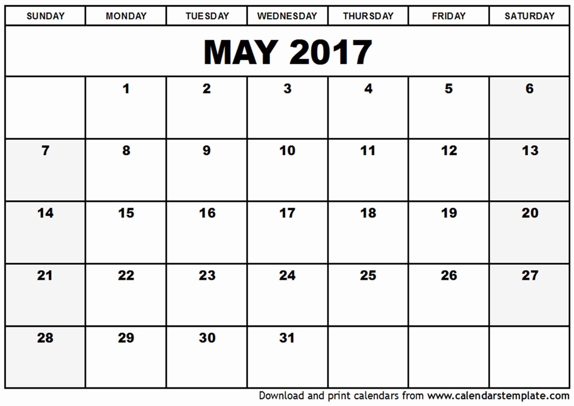 Blank May Calendar 2017 Printable Elegant May 2017 Calendar Template