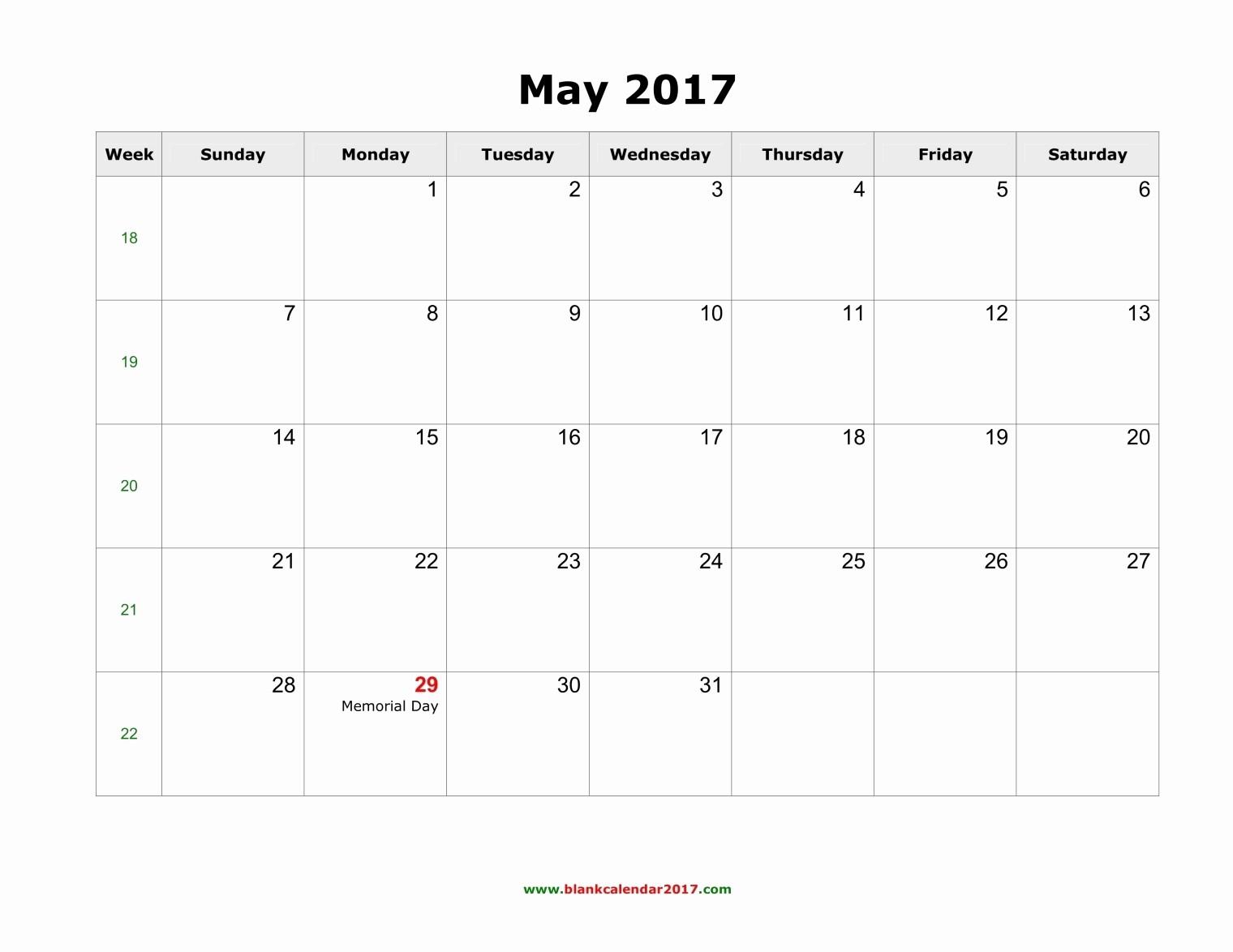Blank May Calendar 2017 Printable Fresh May 2017 Calendar with Holidays