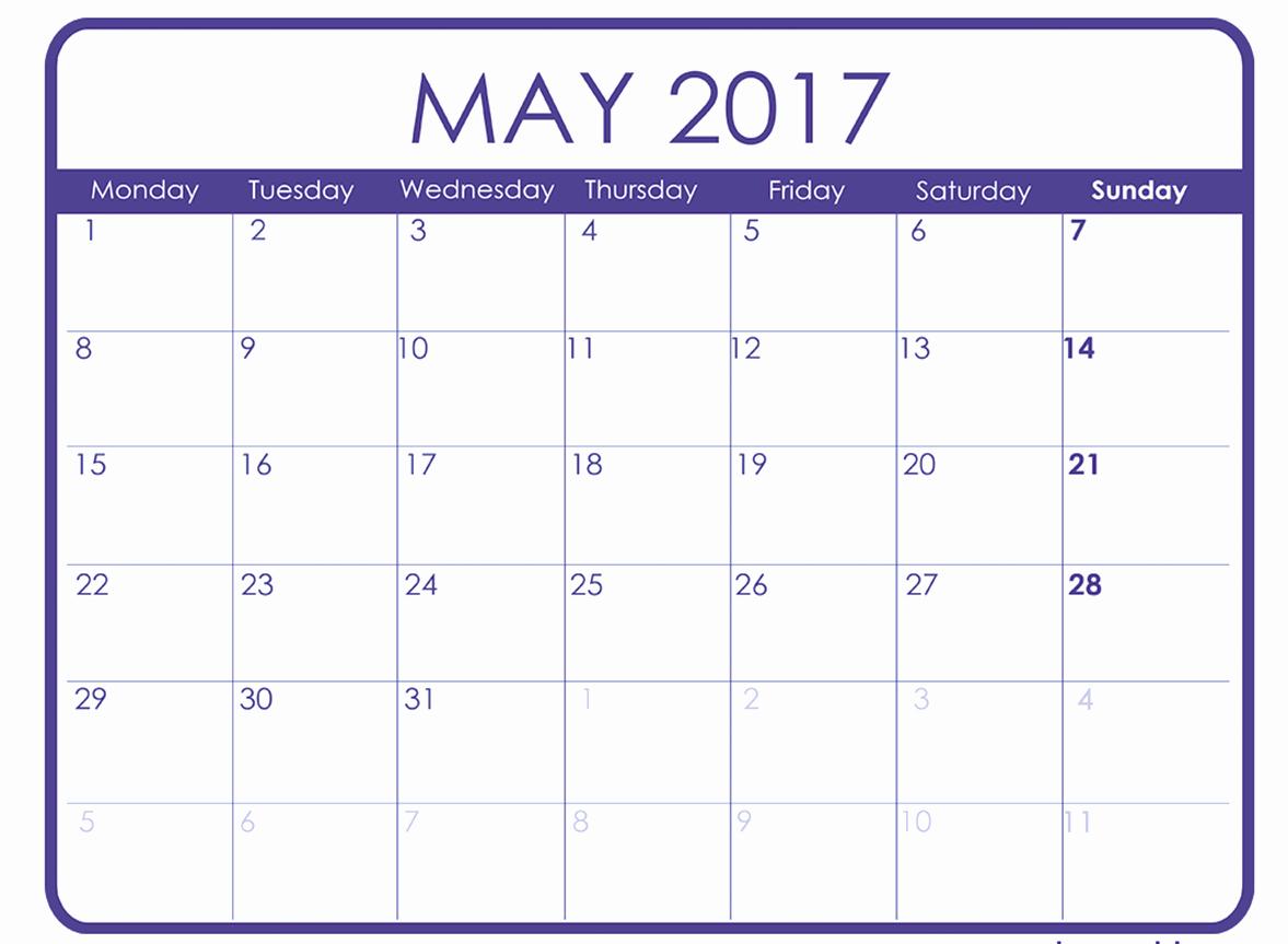 Blank May Calendar 2017 Printable Fresh Monthly Calendar Template 2017 Word