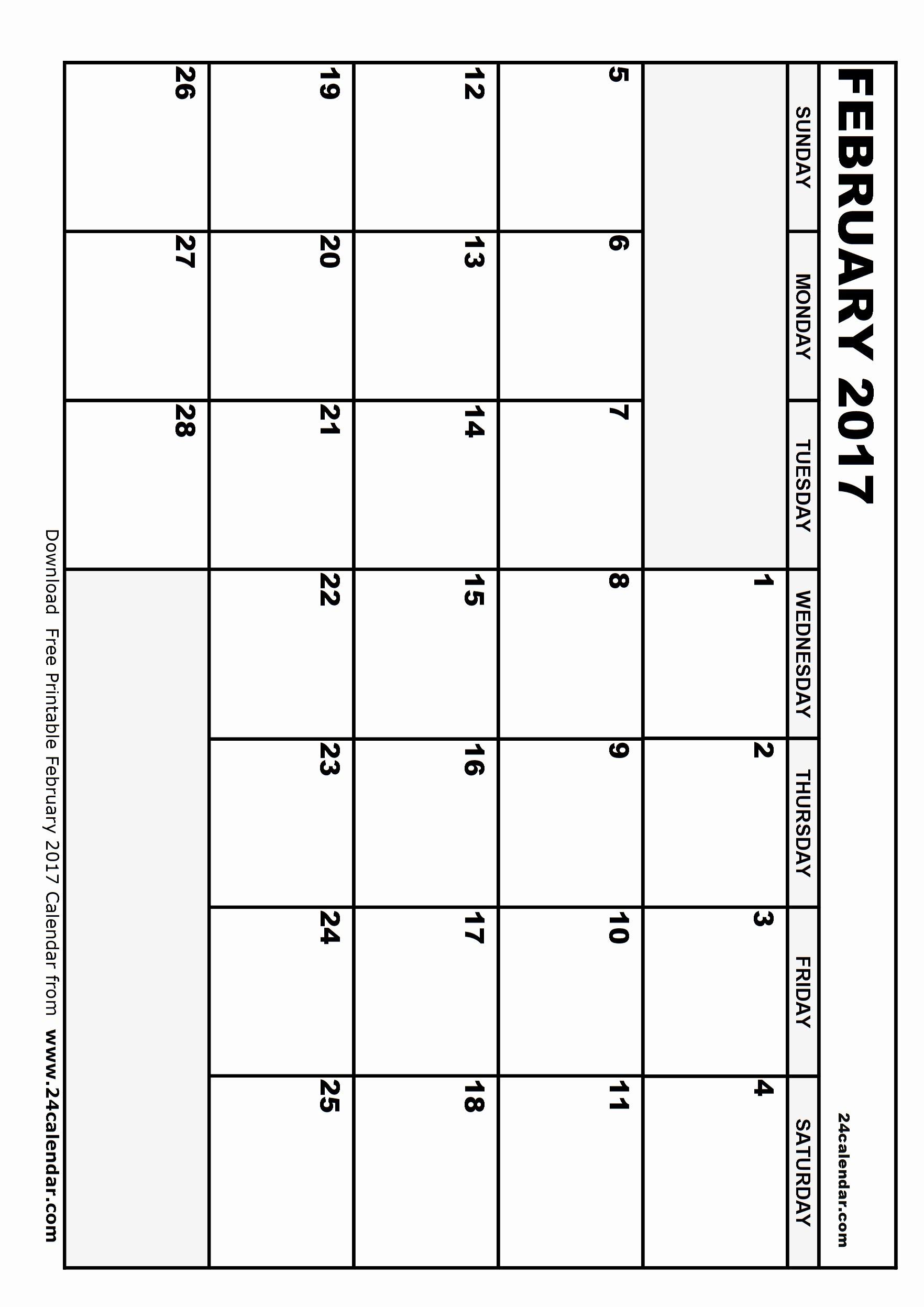 Blank May Calendar 2017 Printable Inspirational Blank February 2017 Calendar In Printable format