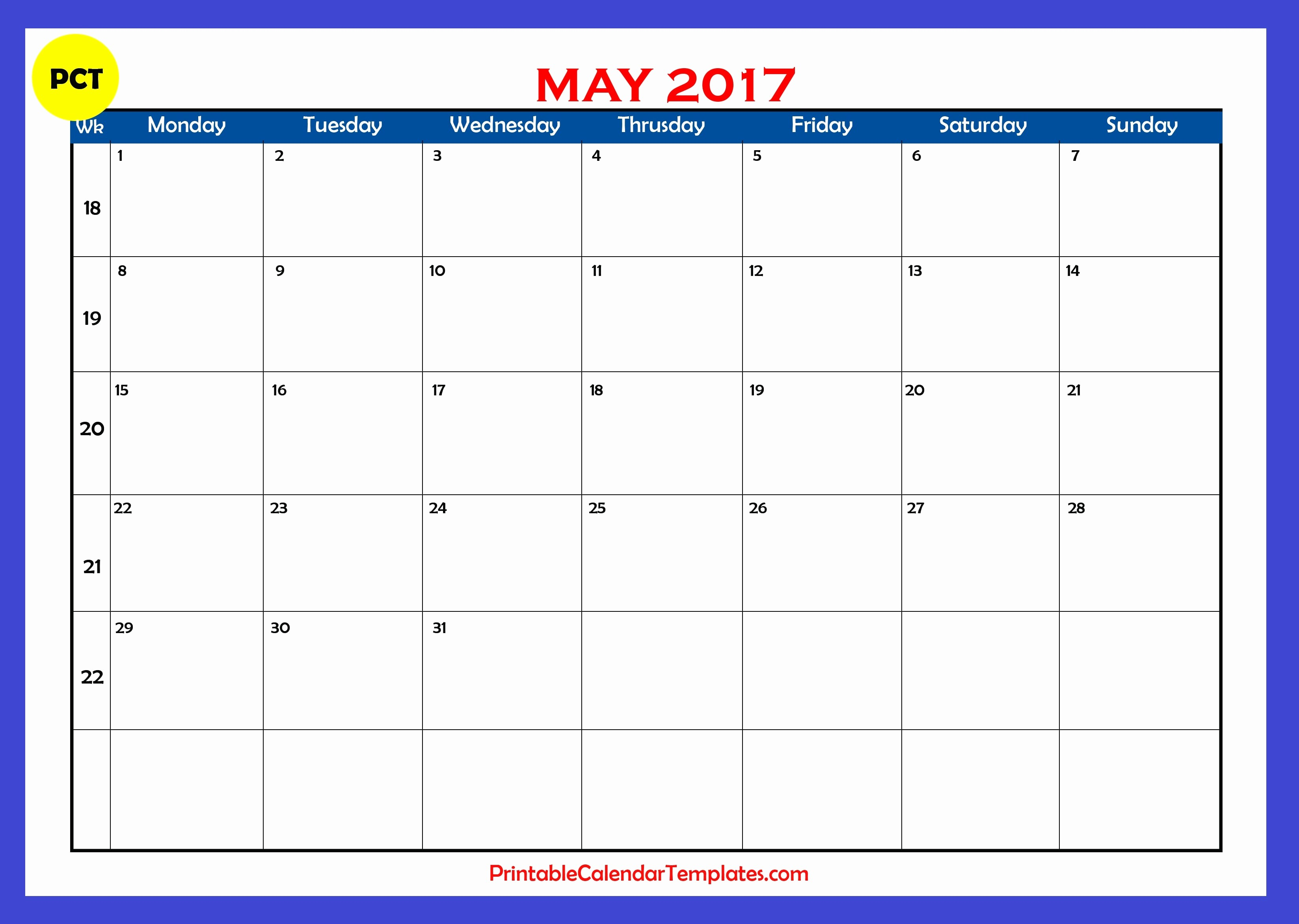 Blank May Calendar 2017 Printable Inspirational [free] Printable Calendar Templates 2016