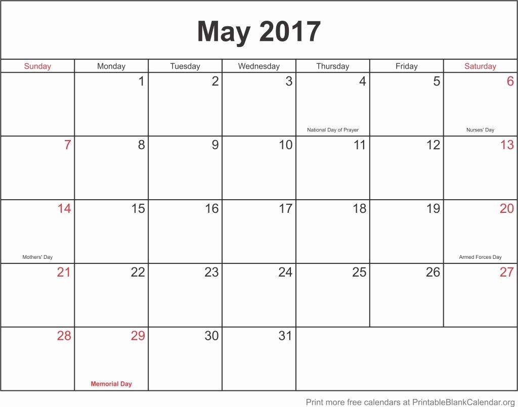 Blank May Calendar 2017 Printable Inspirational May 2107 Printable Calendar Printable Blank Calendar