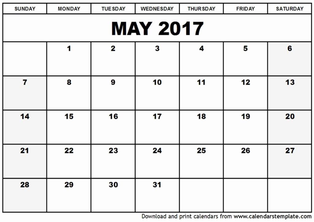Blank May Calendar 2017 Printable Inspirational Printable May 2017 Calendars
