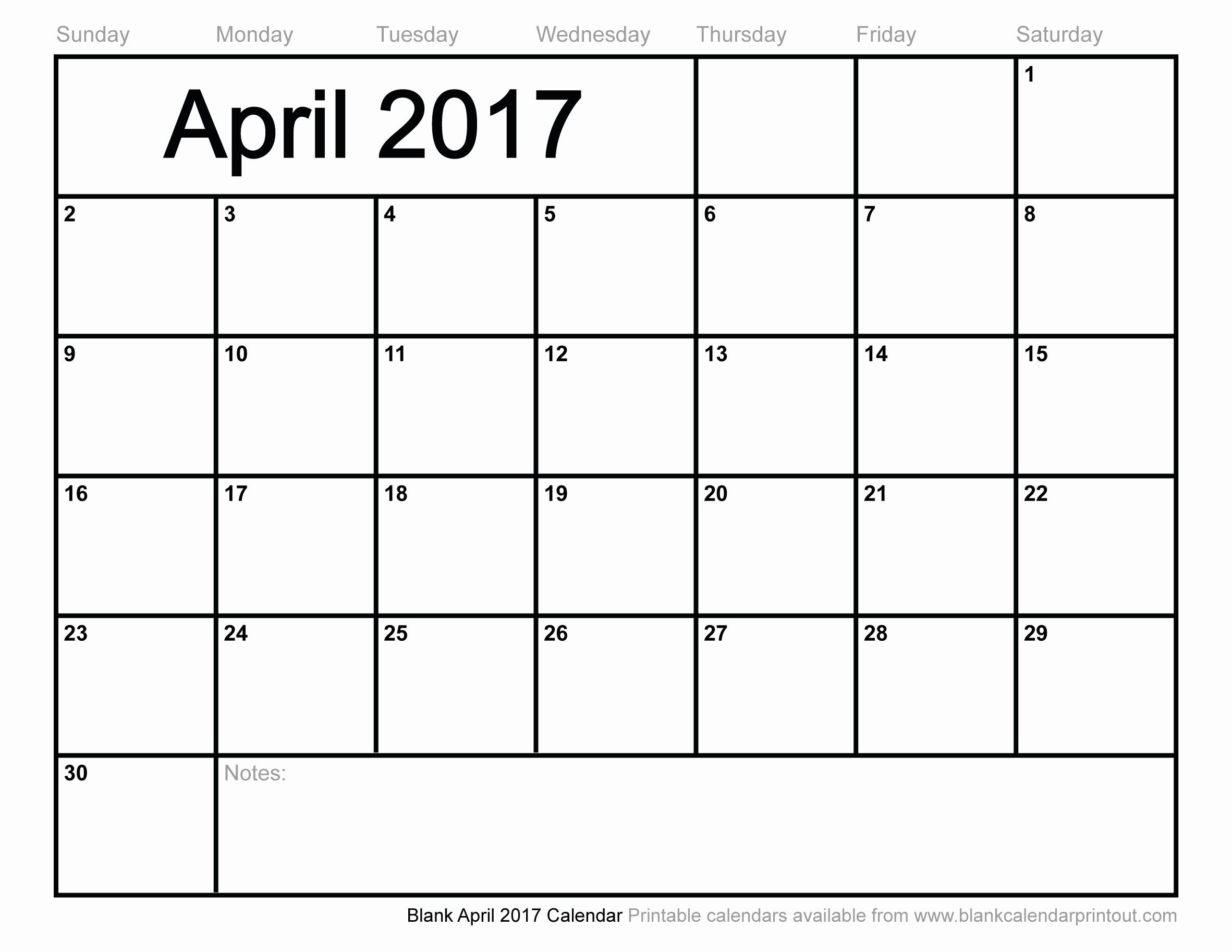 Blank May Calendar 2017 Printable Lovely Blank April 2017 Calendar