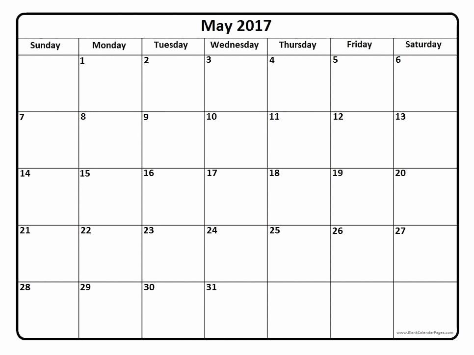 Blank May Calendar 2017 Printable Lovely May 2017 Calendar