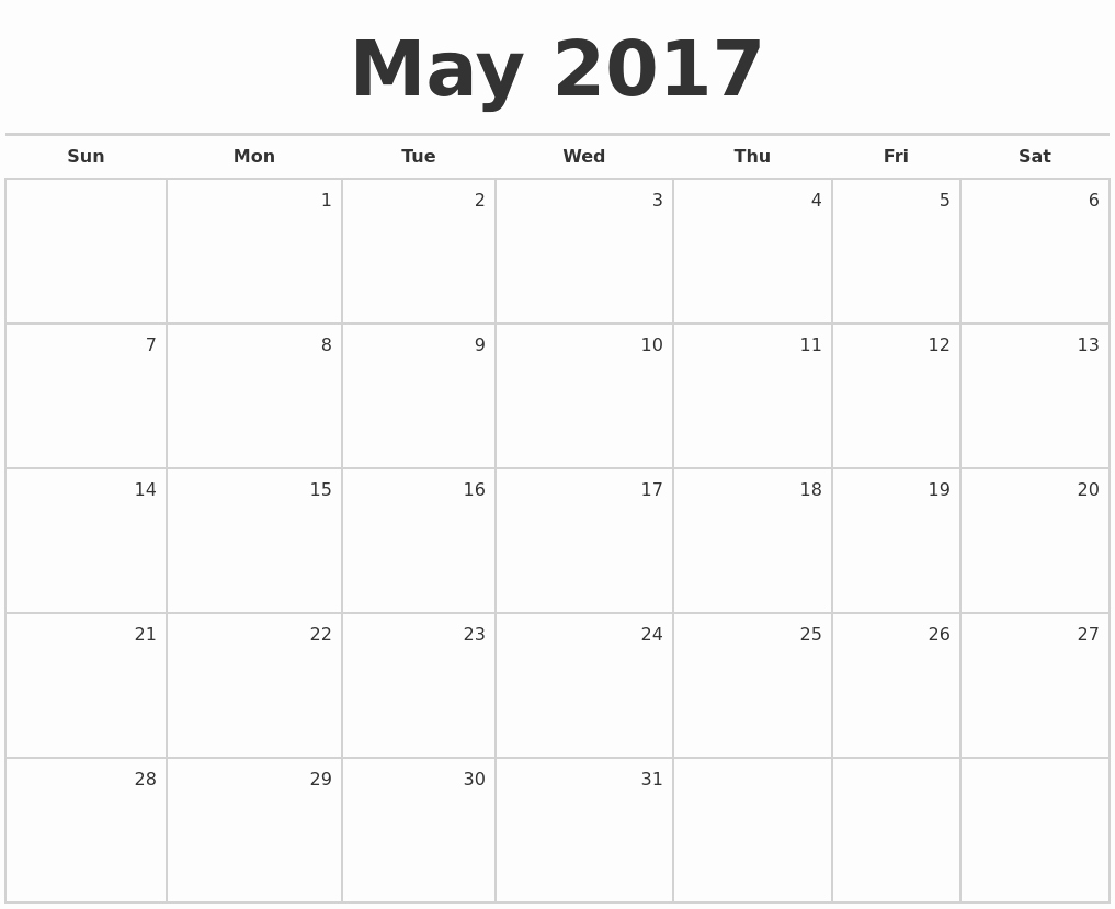 """Blank May Calendar 2017 Printable Luxury Search Results for """"monthly Calendar for June and July"""