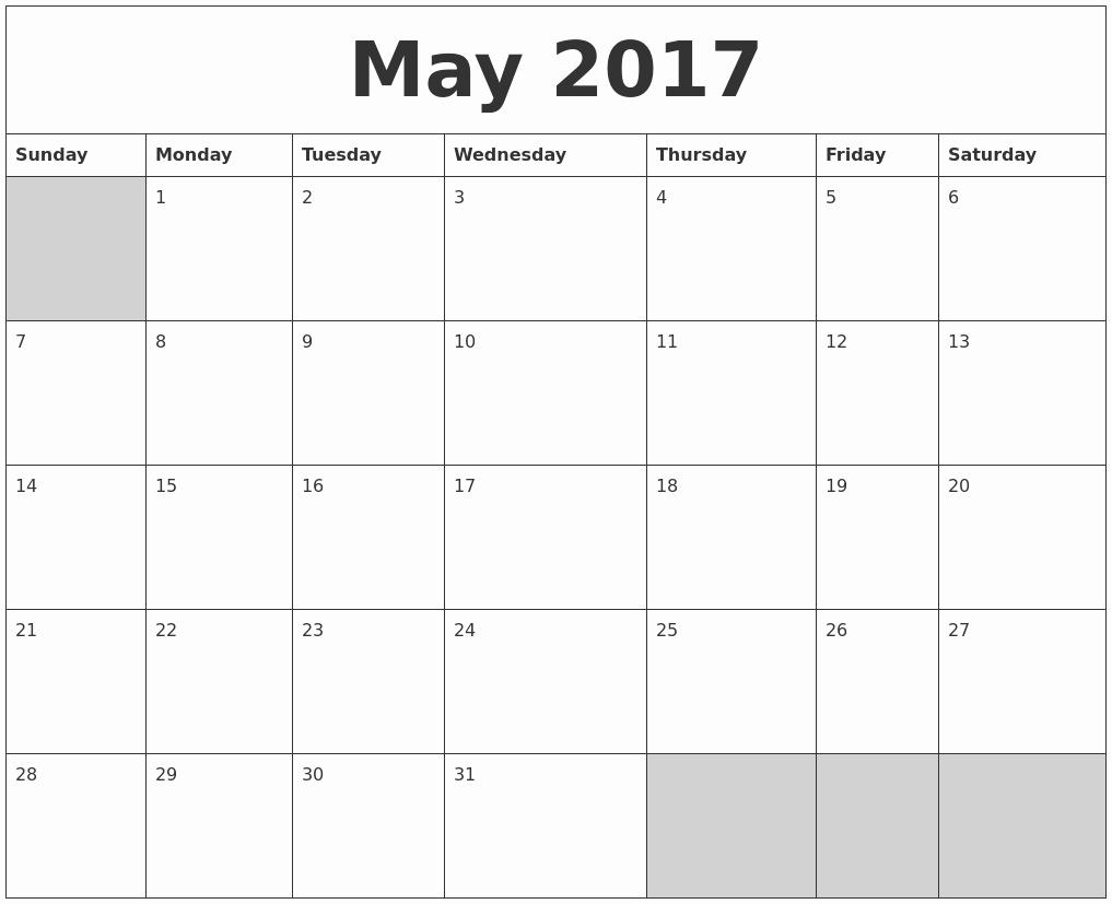 Blank May Calendar 2017 Printable New May 2017 Blank Printable Calendar