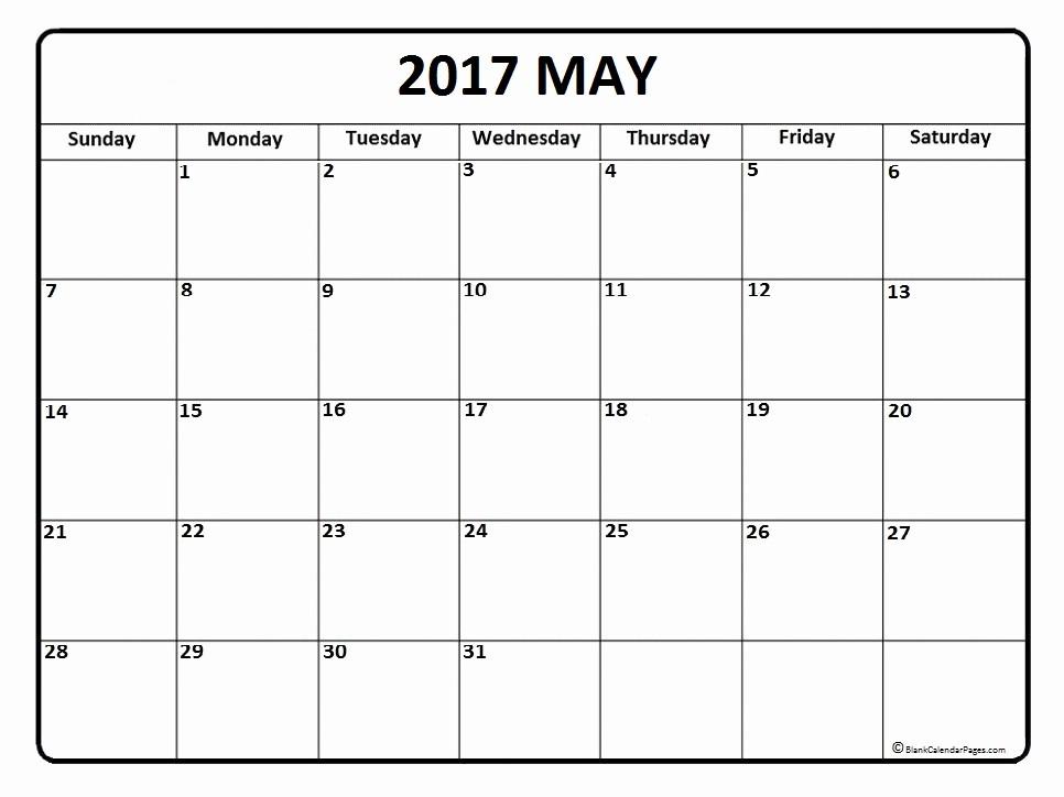 Blank May Calendar 2017 Printable Unique May 2017 Calendar May 2017 Calendar Printable