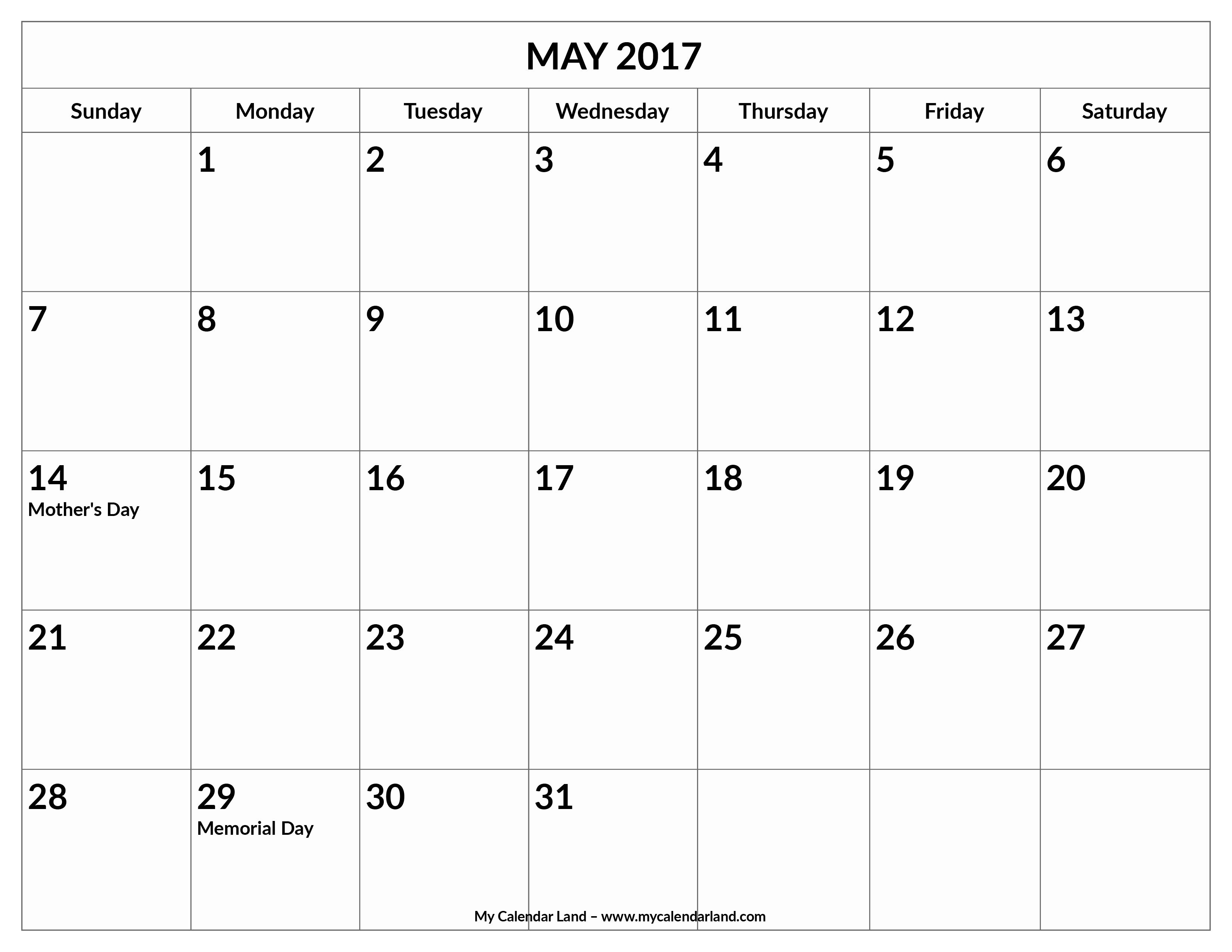 Blank May Calendar 2017 Printable Unique May 2017 Calendar My Calendar Land