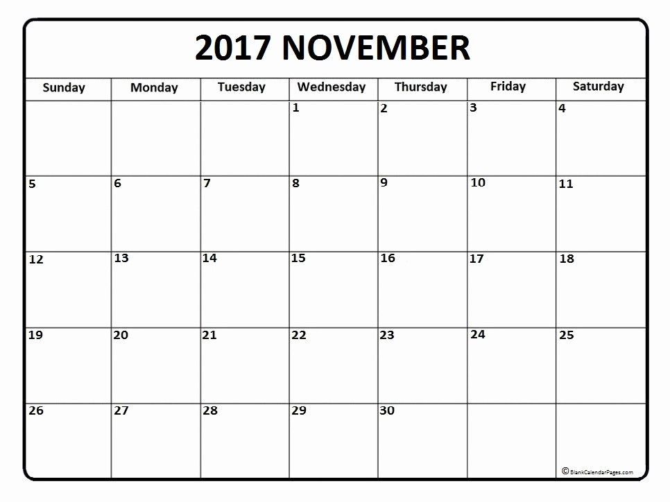 Blank May Calendar 2017 Printable Unique November 2017 Calendar November 2017 Calendar Printable