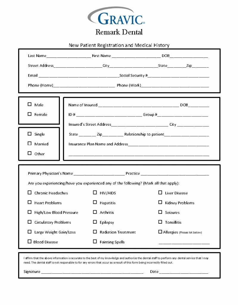 Blank Medical History form Printable Beautiful Dental Patient History form · Remark software