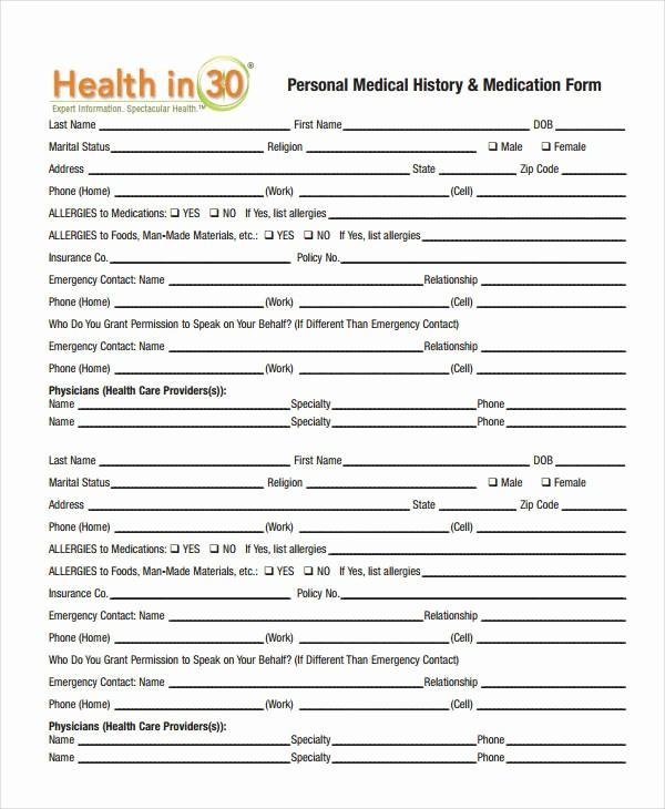 Blank Medical History form Printable Elegant Medical History form 9 Free Pdf Documents Download