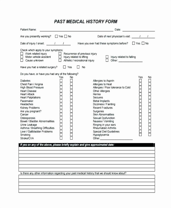 Blank Medical History form Printable Luxury Family Tree Medical History Template Patient form Blank