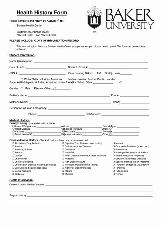 Blank Medical History form Printable Luxury Medical Health History form Printable Pdf