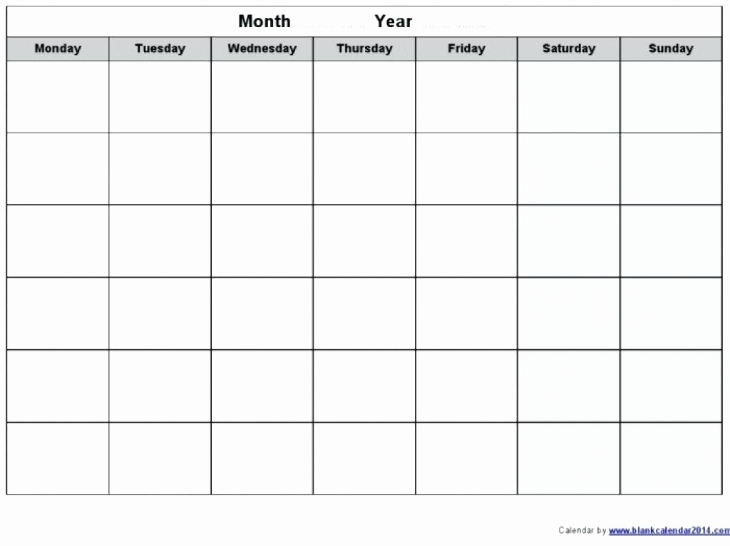 Blank Monday Through Friday Calendar Awesome Calendar Monday Through Sunday Free Calendar Template